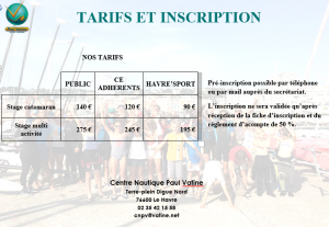 Plaquette stage tarifs